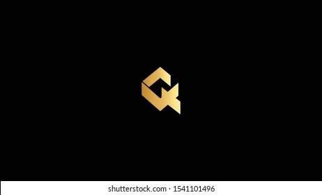 Amazing professional elegant minimal artistic black and gold color Q QX initial based Alphabet icon logo.