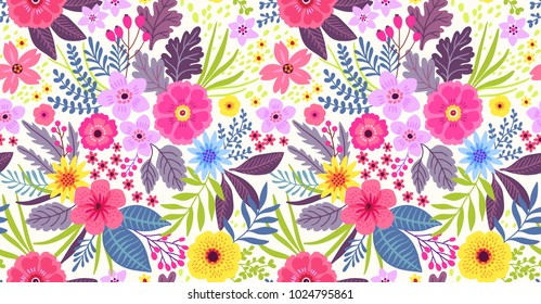 Amazing seamless floral pattern with bright colorful flowers and leaves on a white background. The elegant the template for fashion prints. Modern floral background. Folk style.