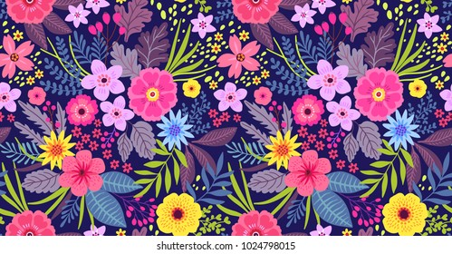 Amazing seamless floral pattern with bright colorful flowers and leaves on a dark blue background. The elegant the template for fashion prints. Modern floral background. Folk style.