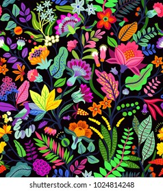 Amazing seamless floral pattern with bright colorful flowers and tropic leaves on a black background. The elegant the template for fashion prints. Modern floral background. Trendy Folk style.