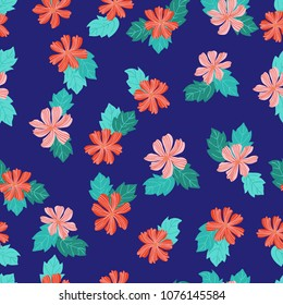 Amazing seamless floral pattern with bright small flowers. Folk style millefleurs. Elegant template for fashion prints. Plant background for textile, wallpaper, pattern fills, covers, surface