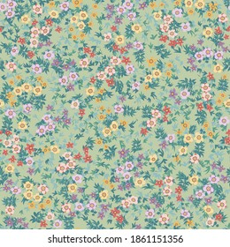 Amazing seamless floral pattern with bright colorful small flowers. Folk style millefleurs. Elegant template for fashion prints.