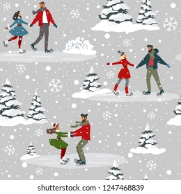 Amazing seamless pattern for Christmas and New Year with couples on skating. Amazing winter holiday card. Vector illustration