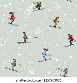 Amazing seamless pattern with people skiing ride in mountain. Winter holiday card. Vector illustration