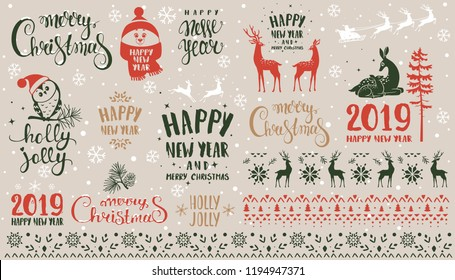 Amazing set for Merry Christmas and New Year design. Typography set. Vector logo, emblems, text design.
