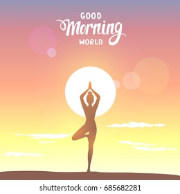 Amazing silhouette woman practicing yoga at sunrise. Asana tree. Practicing yoga. Vector illustration. Beautiful view.