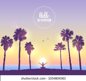 Amazing silhouette woman sit in Lotus pose and welcomes the sun. Practicing yoga. Vector illustration. Beautiful view on tropical beach with palm trees