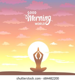 Amazing silhouette woman sit in Lotus pose and welcomes the sun. Practicing yoga. Vector illustration. Beautiful view at sunrise