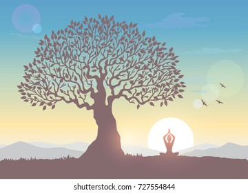 Amazing silhouette woman sit in Lotus pose and welcomes the sun under a huge tree. Practicing yoga. Vector illustration. Beautiful view at sunrise and mountains