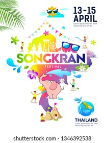 Amazing Songkran festival ideas map thailand colorful poster design, vecter illustration