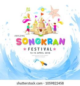 Amazing Songkran festival pagoda sand of Thailand water splash background, vector illustration
