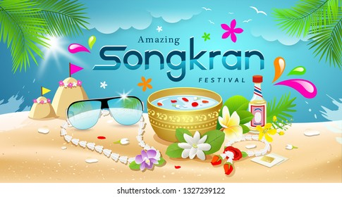 Amazing Songkran Festival summer of Thailand on sea background, vector illustration