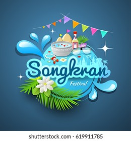 Amazing songkran festival of Thailand, logo design water background, vector illustration