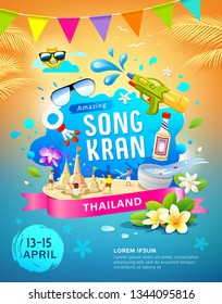Amazing Songkran festival in thailand this summer colorful poster design background, vector illustration