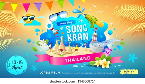 Amazing Songkran festival in thailand this summer colorful banners design background, vector illustration