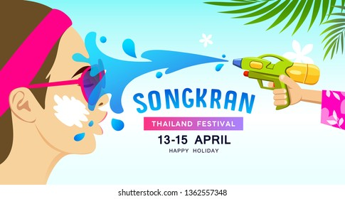 Amazing Songkran festival thailand vector, water splash on face woman with gun water design background, illustration