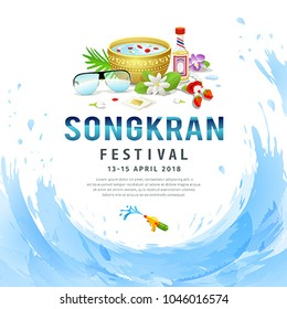 Amazing Songkran festival of Thailand water background, vector illustration
