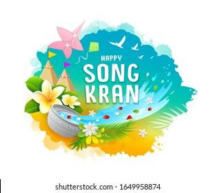 Amazing Songkran festival travel thailand colorful water splash water color design background, vector illustration