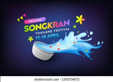 Amazing Songkran Thailand bowl and colorful water splashing design backgrond, vector illustration