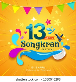 Amazing Songkran Thailand festival colorful water design on yellow background, vector illustration