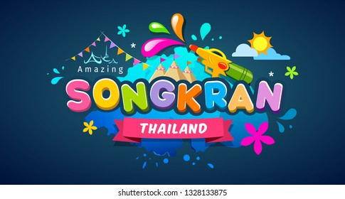 Amazing Songkran thailand festival message colorful design banner, vector illustration