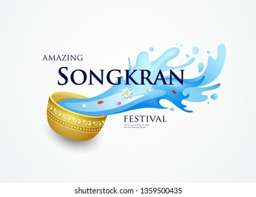 Amazing Songkran Thailand festival vector bowl and water splashing design, illustration