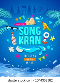 Amazing Songkran Thailand poster design blue background, vector illustration