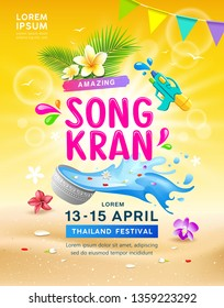 Amazing Songkran travel Thailand festival summer vector, sand and yellow background, illustration