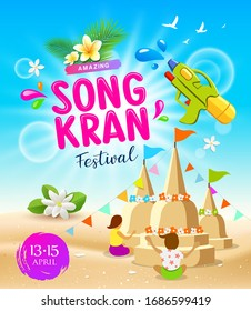 Amazing Songkran travel Thailand festival summer vector, female play sand pagoda and sea beach background, illustration