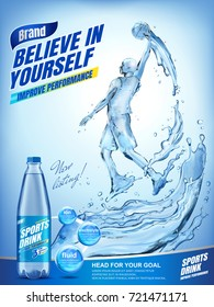 Amazing sports drink ads, liquid basketball athlete jumping up and dunking a ball with splashing liquid and drink bottle in 3d illustration