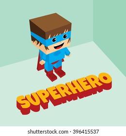amazing superhero - isometric block theme