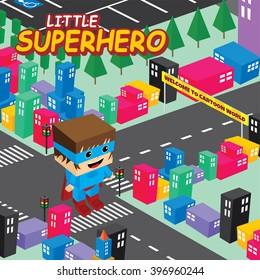 amazing superhero isometric world theme - male hero