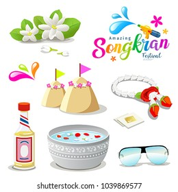 Amazing Thailand Songkran festival collections background, vector illustration