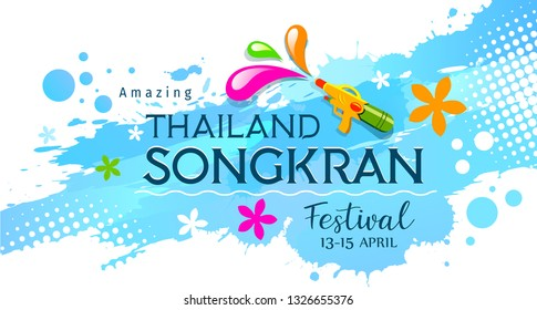 Amazing Thailand, Songkran, festival with gun on water splash background, illustration