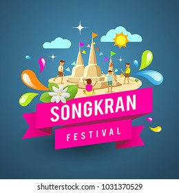 Amazing Thailand songkran festival water, design on blue background, vector illustration