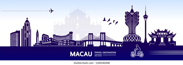 Amazing Travel To Macau vector illustration.
