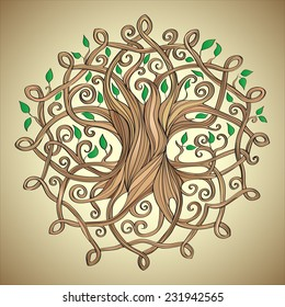 Amazing tree of life in the Celtic pattern with leaves
