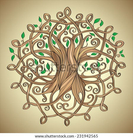 Amazing Tree Life Celtic Pattern Leaves Stock Vector Royalty Free Gorgeous Tree Of Life Pattern