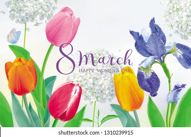 Amazing Tulips and spring flowers for 8 March. Floral vector greeting card in watercolor style with lettering design for 8 March, wedding, Valentine's Day,  Mother's Day, sales and other events.