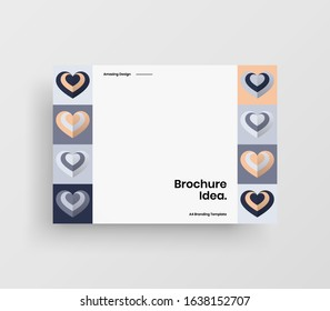 Amazing Valentine's day vector A4 horizontal orientation front page mock up. Abstract cover with heart illustration design layout. Holiday greeting card simple creative brochure template background.