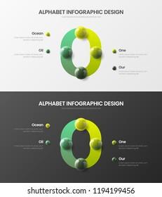 Amazing vector alphabet 4 option infographic 3D realistic colorful balls presentation bundle. Bright multicolor character design illustration layout. Modern art O symbol visualization template set.