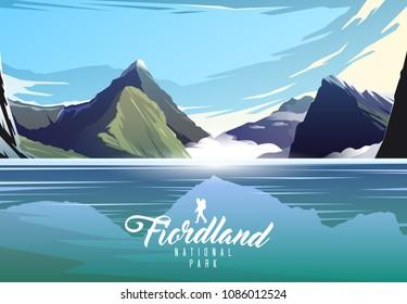 Amazing vector illustration. Fiordland national park. Nature of New Zeland. Milford sound.