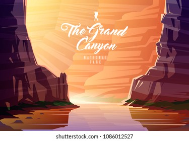 Amazing vector illustration. The Grand Canyon national park. Nature of Arizona, the USA. The Colorado River.