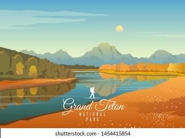 Amazing vector illustration. Grand Teton national park. Nature of Wyoming. Moran.