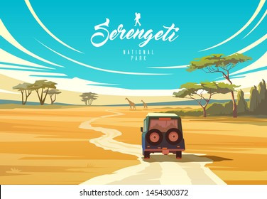 Amazing vector illustration. The Serengeti national park. Nature of Tanzania. Savannah.