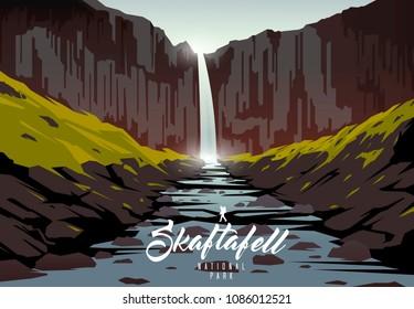 Amazing vector illustration. Skaftafell national park. Nature of Iceland. Svartifoss waterfall.