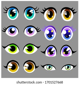 Amazing Vector set of beautiful cartoon anime eyes