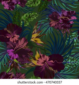 amazing vector tropical flowers patten. seamless design with gorgeous botanical elements, hibiscus, palm, bird of paradise. Vector editable file
