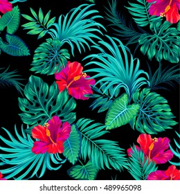 amazing vector tropical pattern. intricate Palms and hibiscus. Vector botanical. black, dark colors. fashion print.