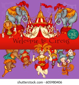 Amazing Vintage Circus Show Detailed poster. Colored Sketch composition. Circus red and white Circus  Tent vector hand-drawn illustration. Colored background.